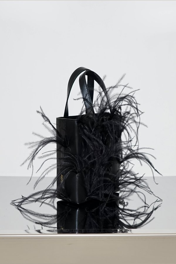 TUBICI® | Black Leather & Feather | SS21 NEW YORK | www.tubicistore.com