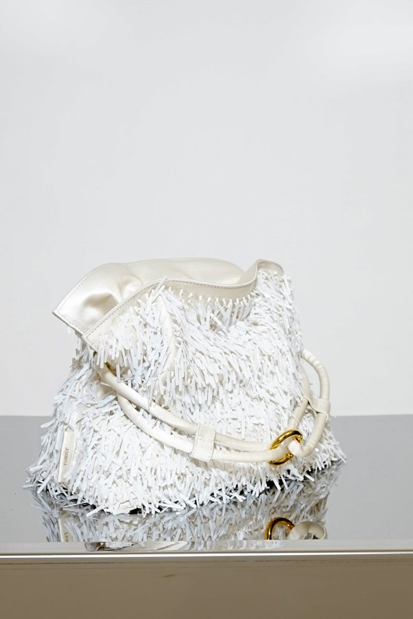 TUBICI® | White Satin & Paillette Pouch | SS21 ROMA XL | www.tubicistore.com