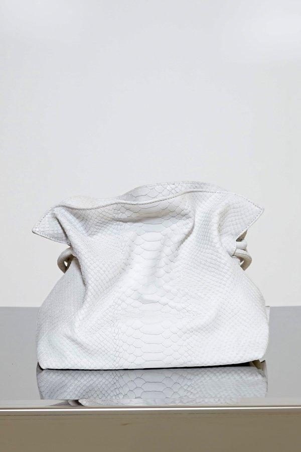 TUBICI® | White Fake Python Pouch | SS21 ROMA XL | www.tubicistore.com